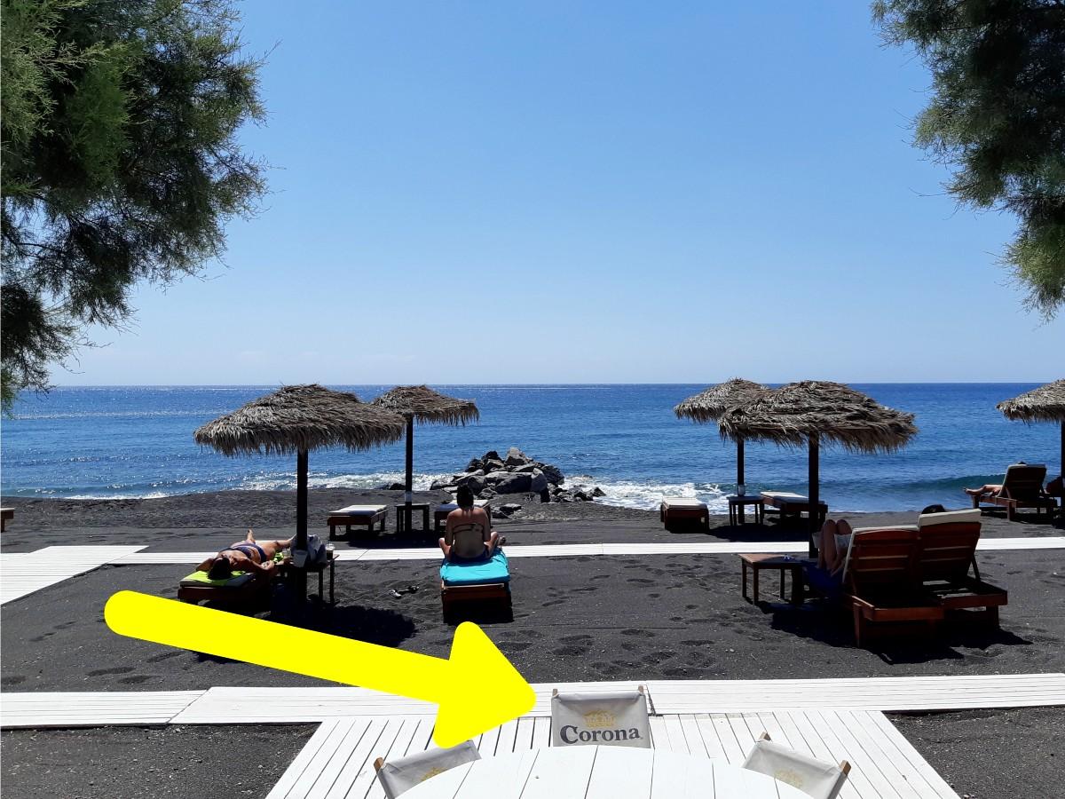 Beach bar in Perissa Santorini