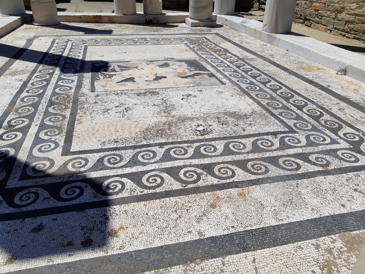 Mosaic in the archaeological site of Delos, Greece
