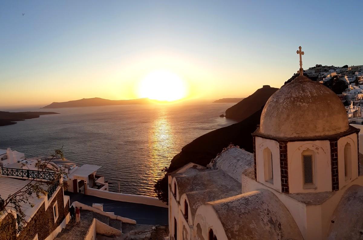 Sunset in Fira Santorini