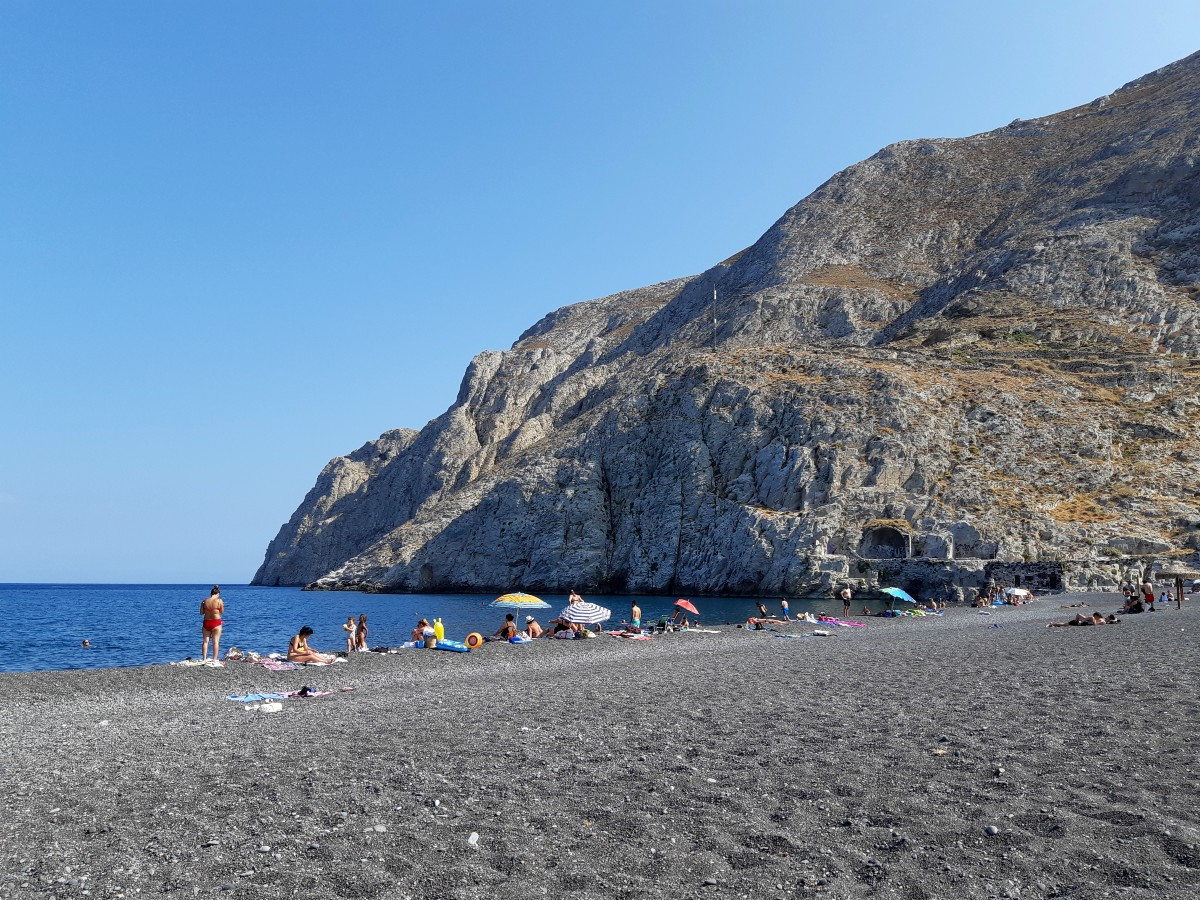 Kamari beach Santorini Greece