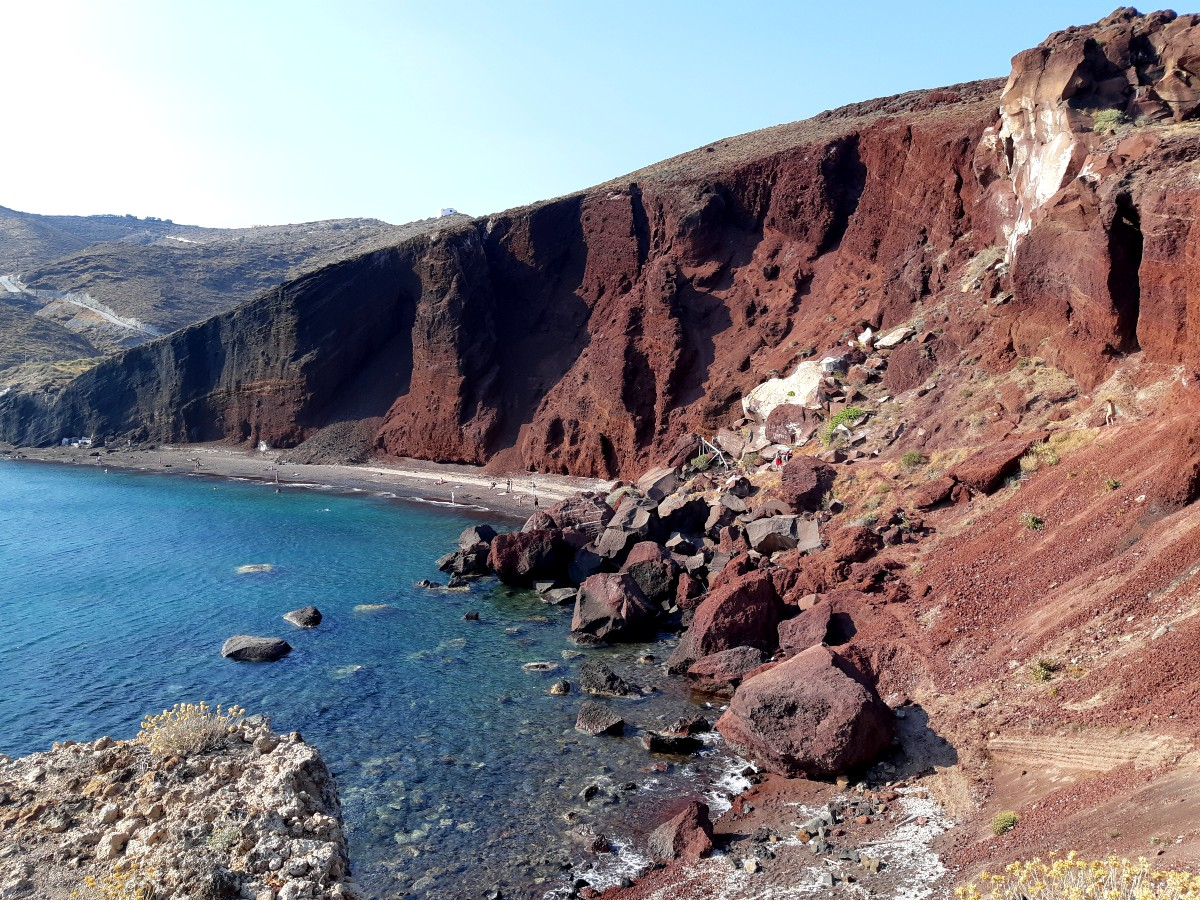 The famous Red Beach in Santorini Greece