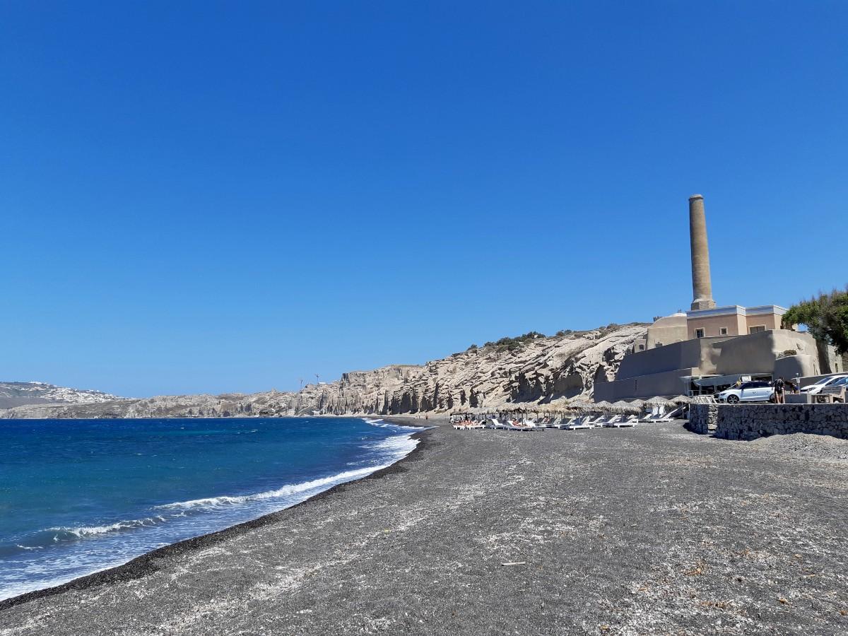 Vlychada beach Santorini and tomato industrial museum