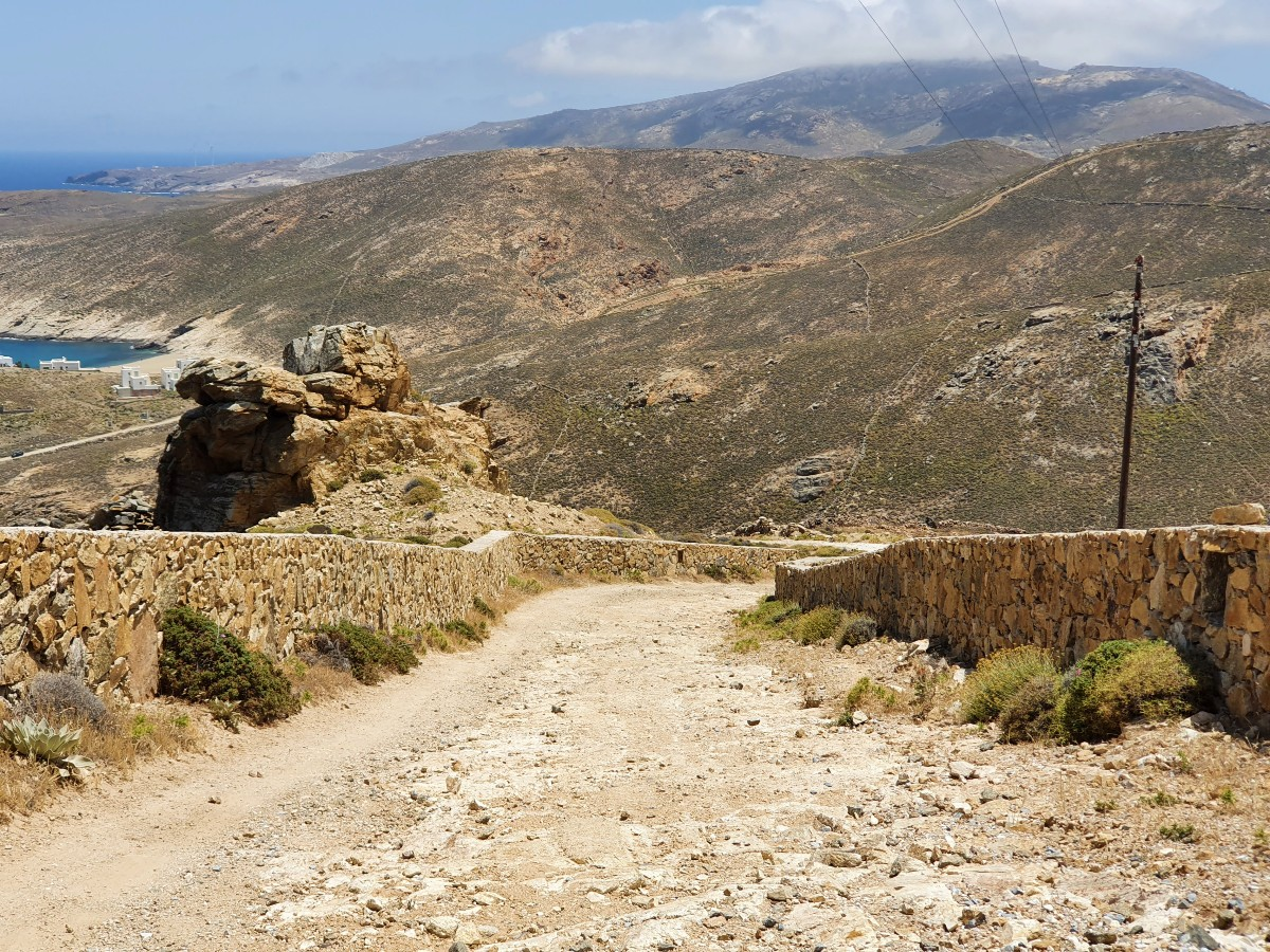 A rough road in Mykonos Greece