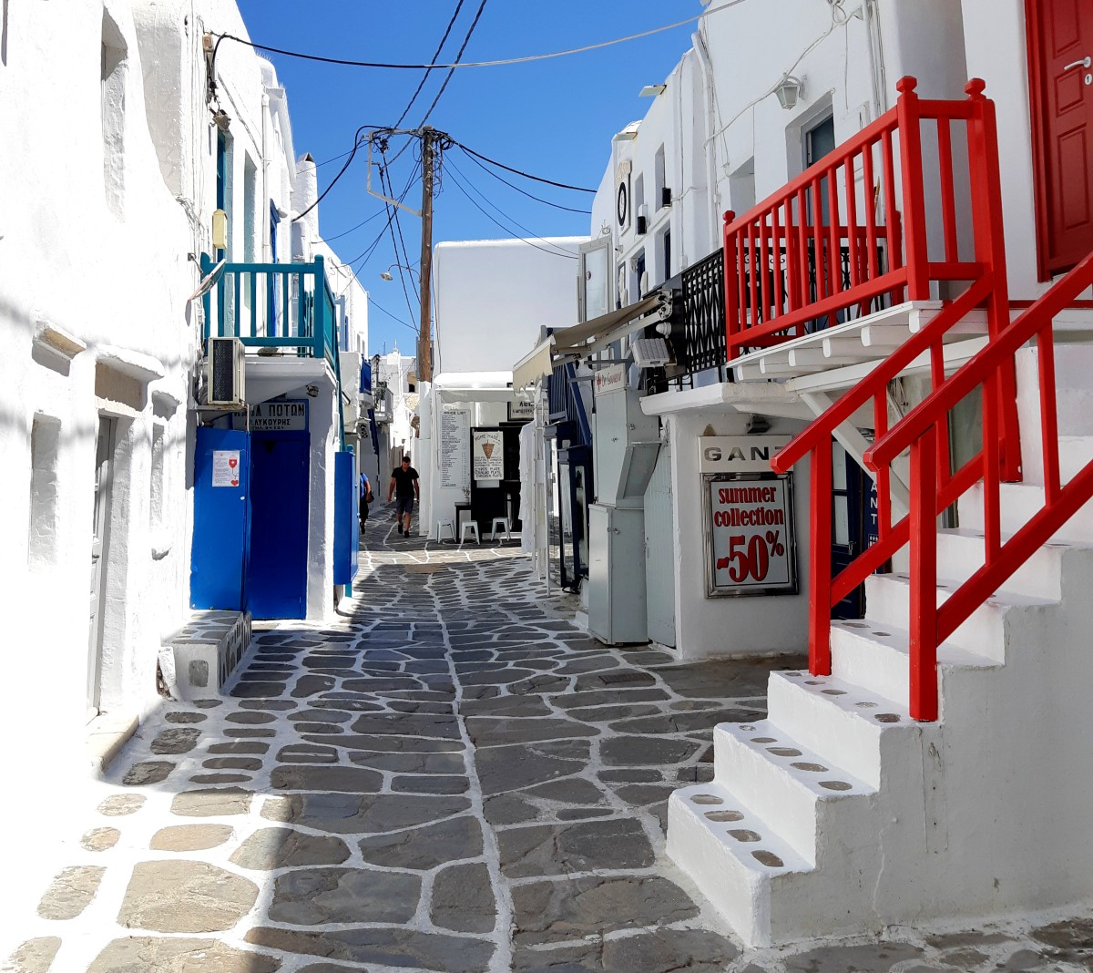 Whitewashed streets in Mykonos town