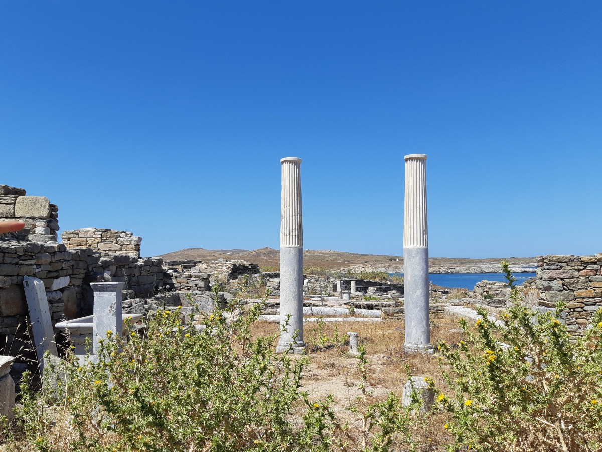 Ancient Greek columns in Delos