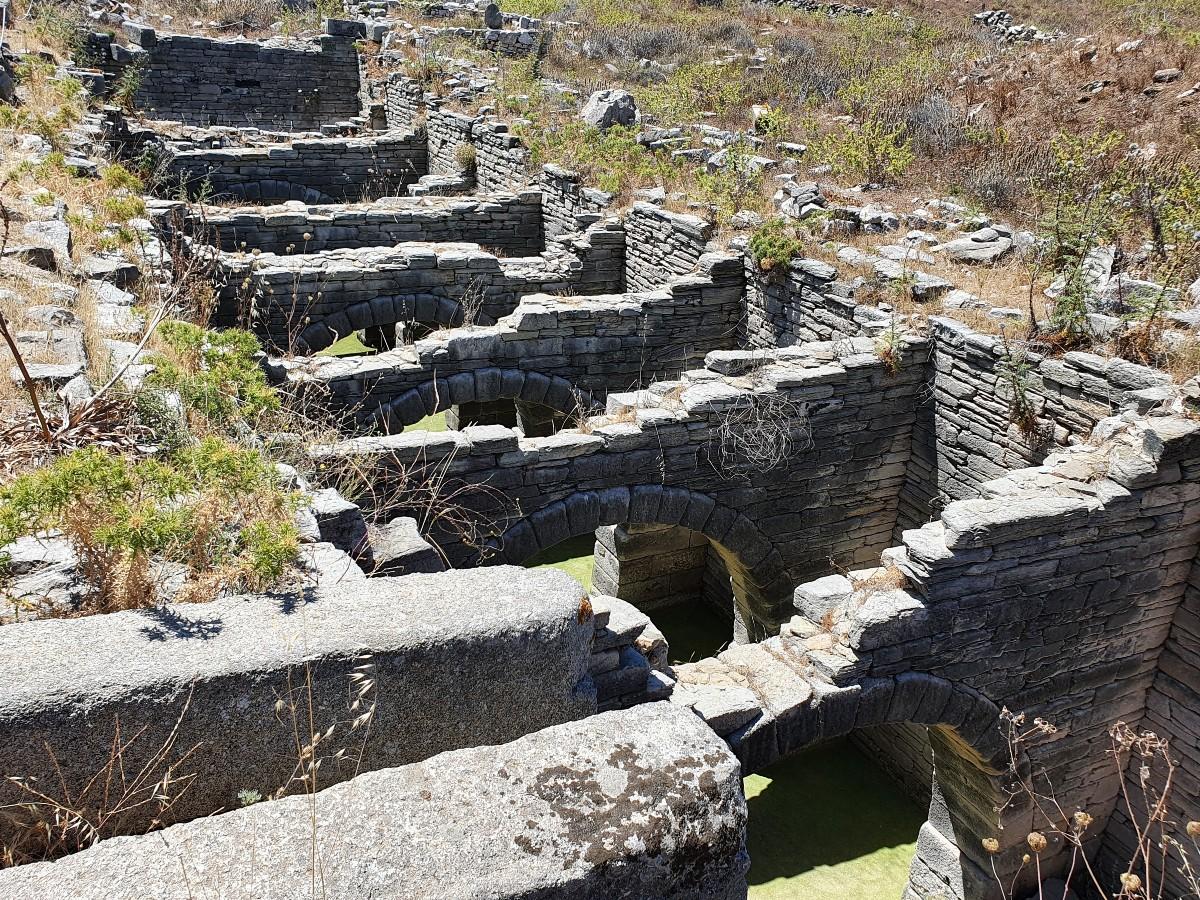 An impressive Roman aqueduct in Ancient Delos Greece