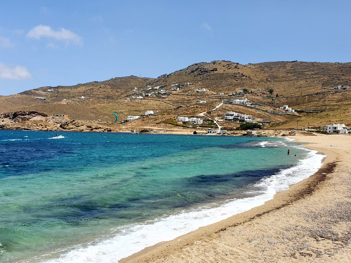 View of Ftelia beach in Mykonos