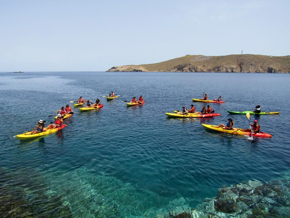 Kayaks off Mykonos coast