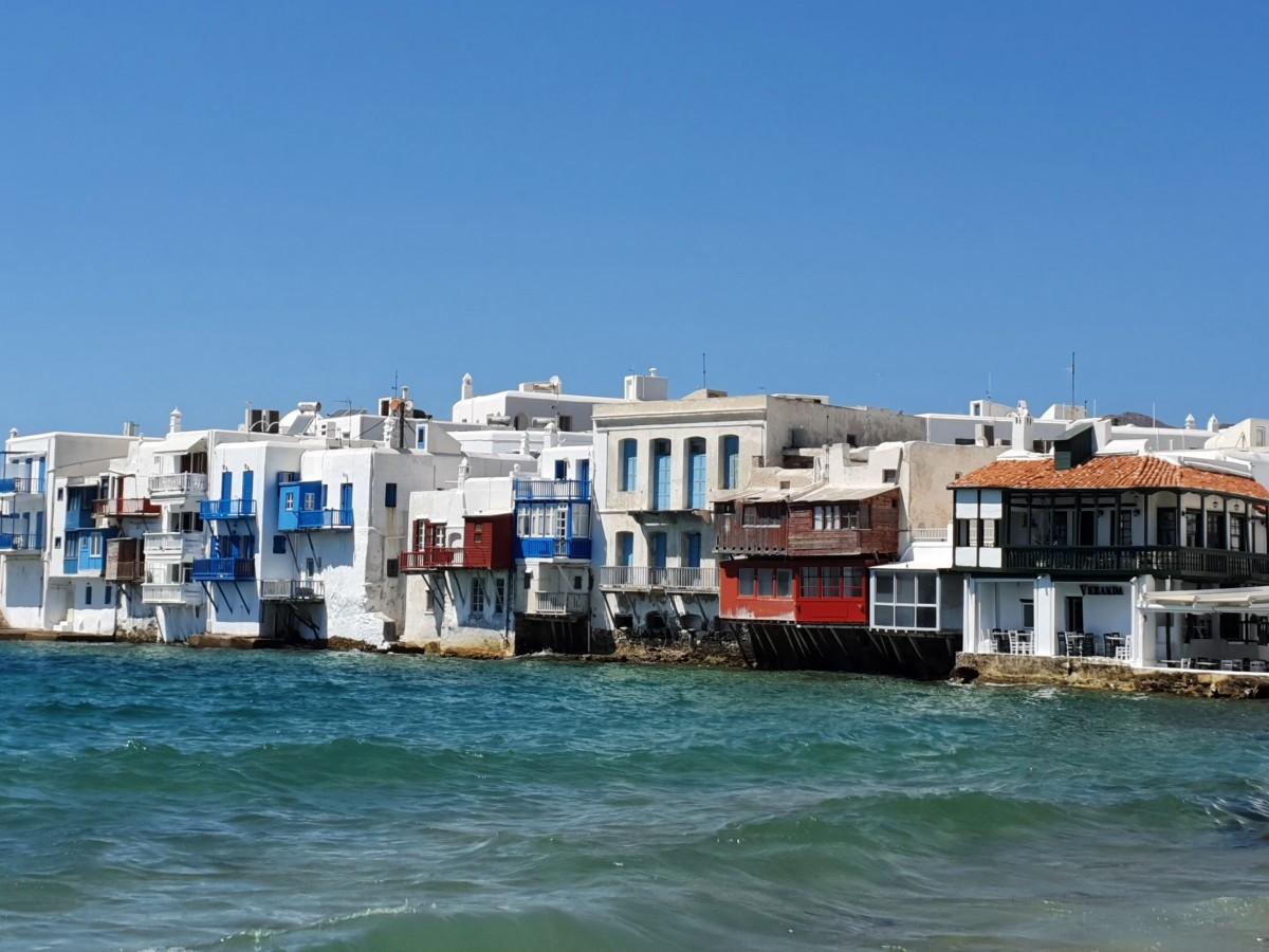 A view of Little Venice Mykonos