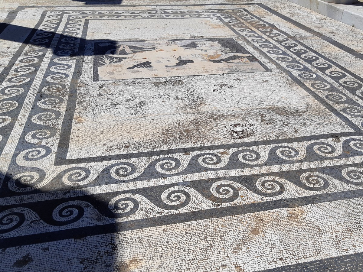 A restored mosaic floor in Ancient Delos Greece