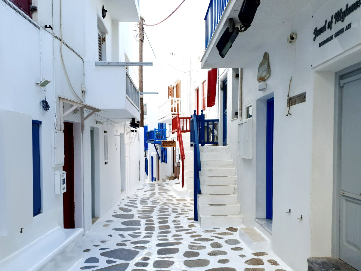 Empty streets in Mykonos Greece