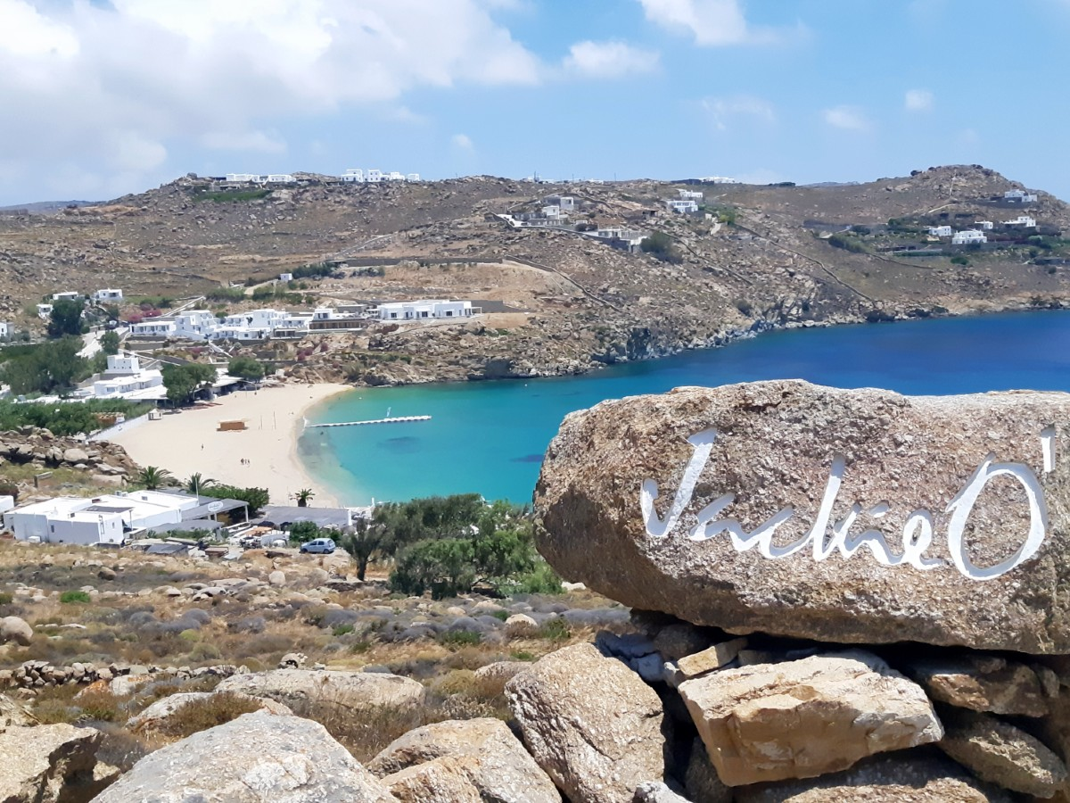 View of Super Paradise beach in Mykonos Greece