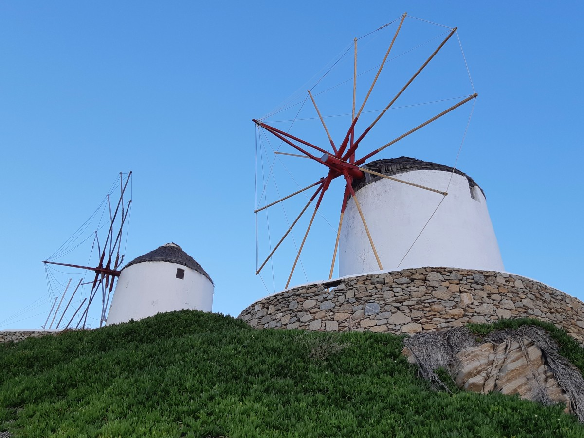 The iconic windmills in Mykonos Greece
