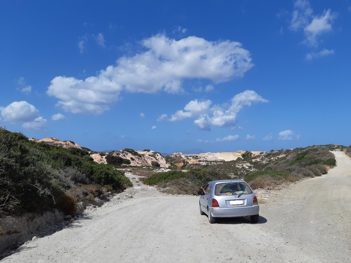 Driving on dirt roads to reach the hiking path to Kleftiko in Milos Greece