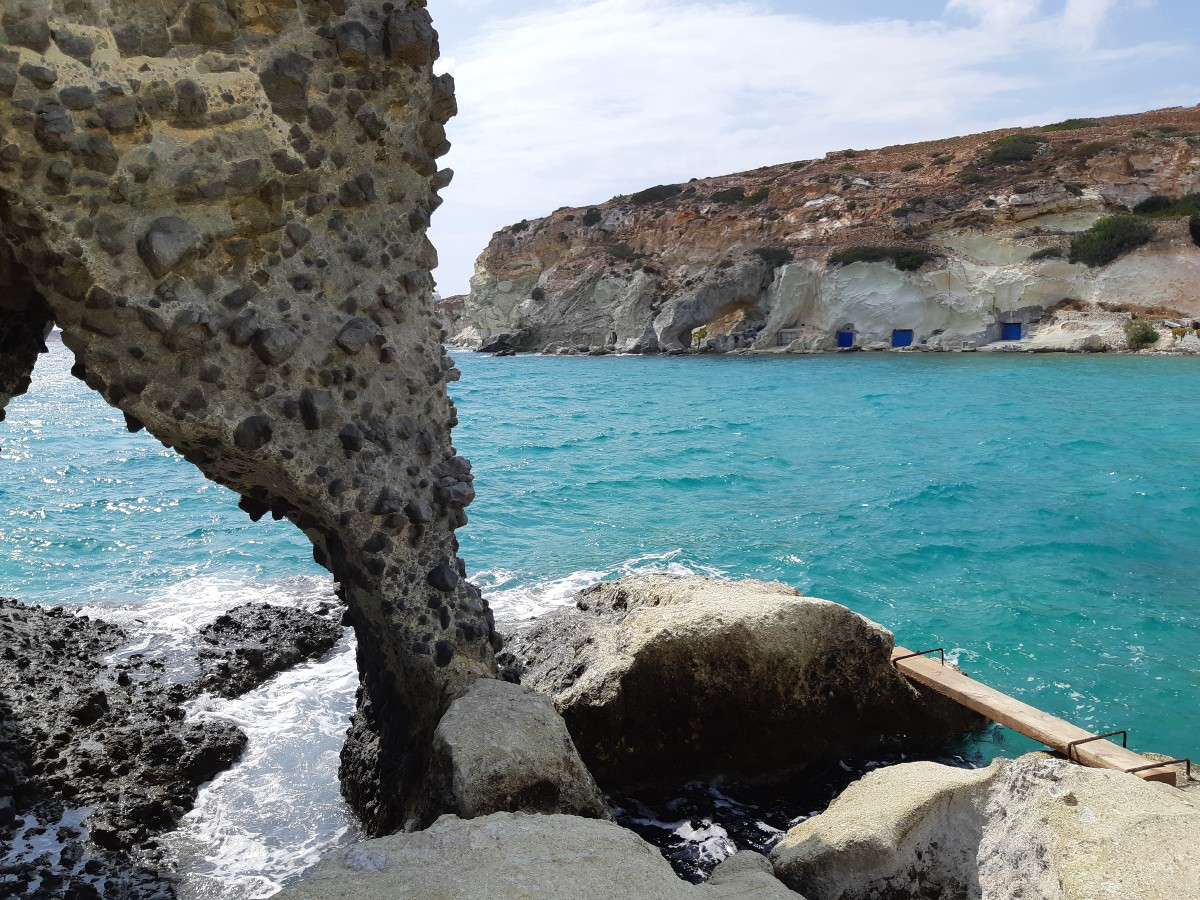 Rocks and boat garages in Kimolos Greece