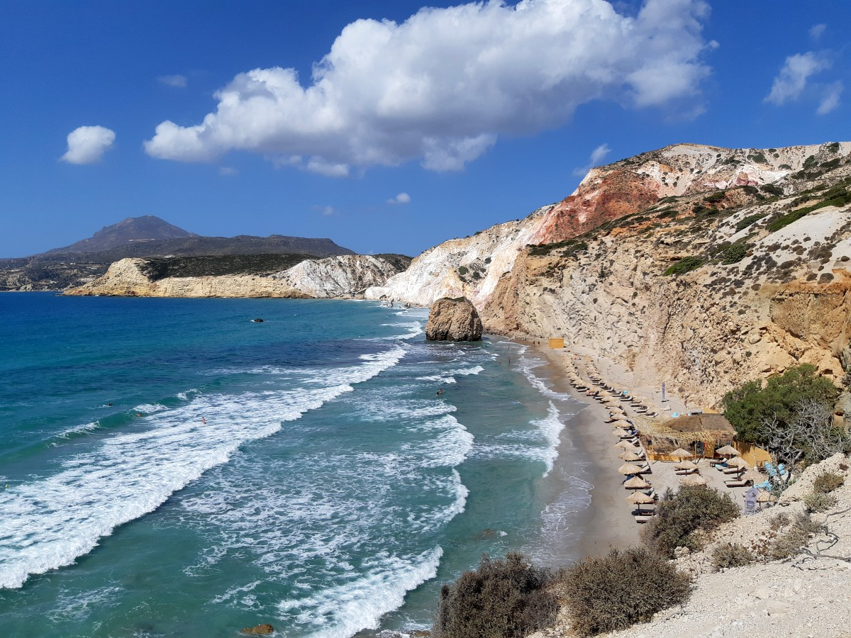 Colourful landscape at Fyriplaka beach Milos Greece