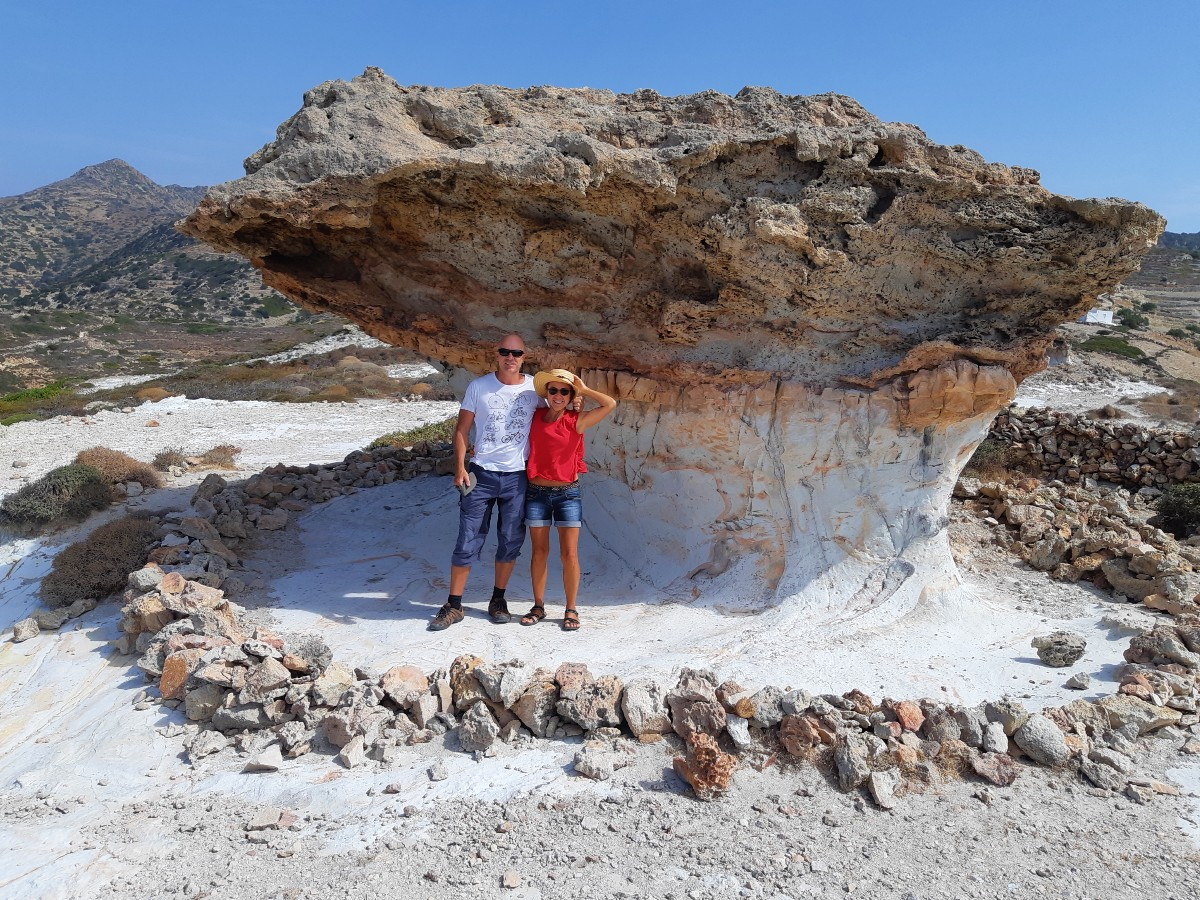 Vanessa and Dave from Real Greek Experiences in front of Skiadi rock, Kimolos Greece