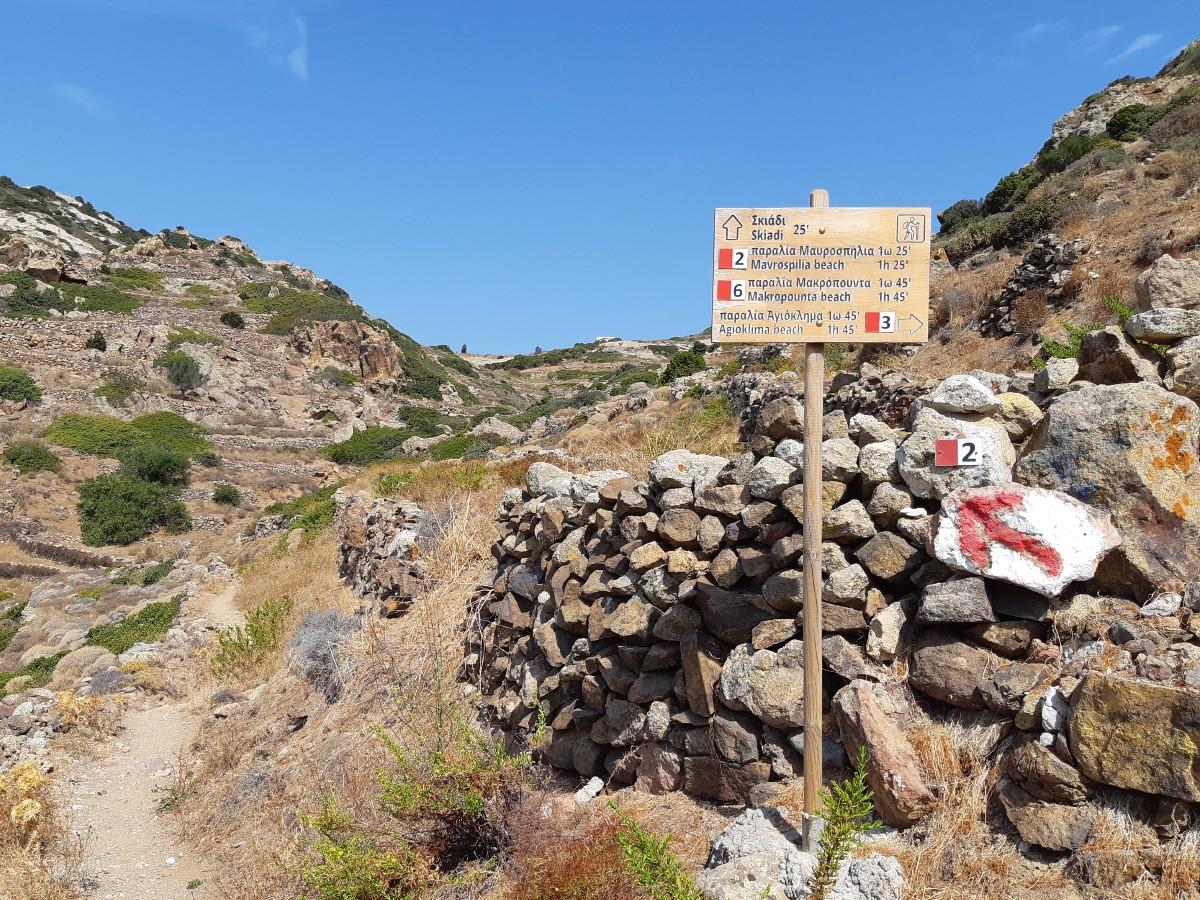 Signs to Skiadi rock in Kimolos