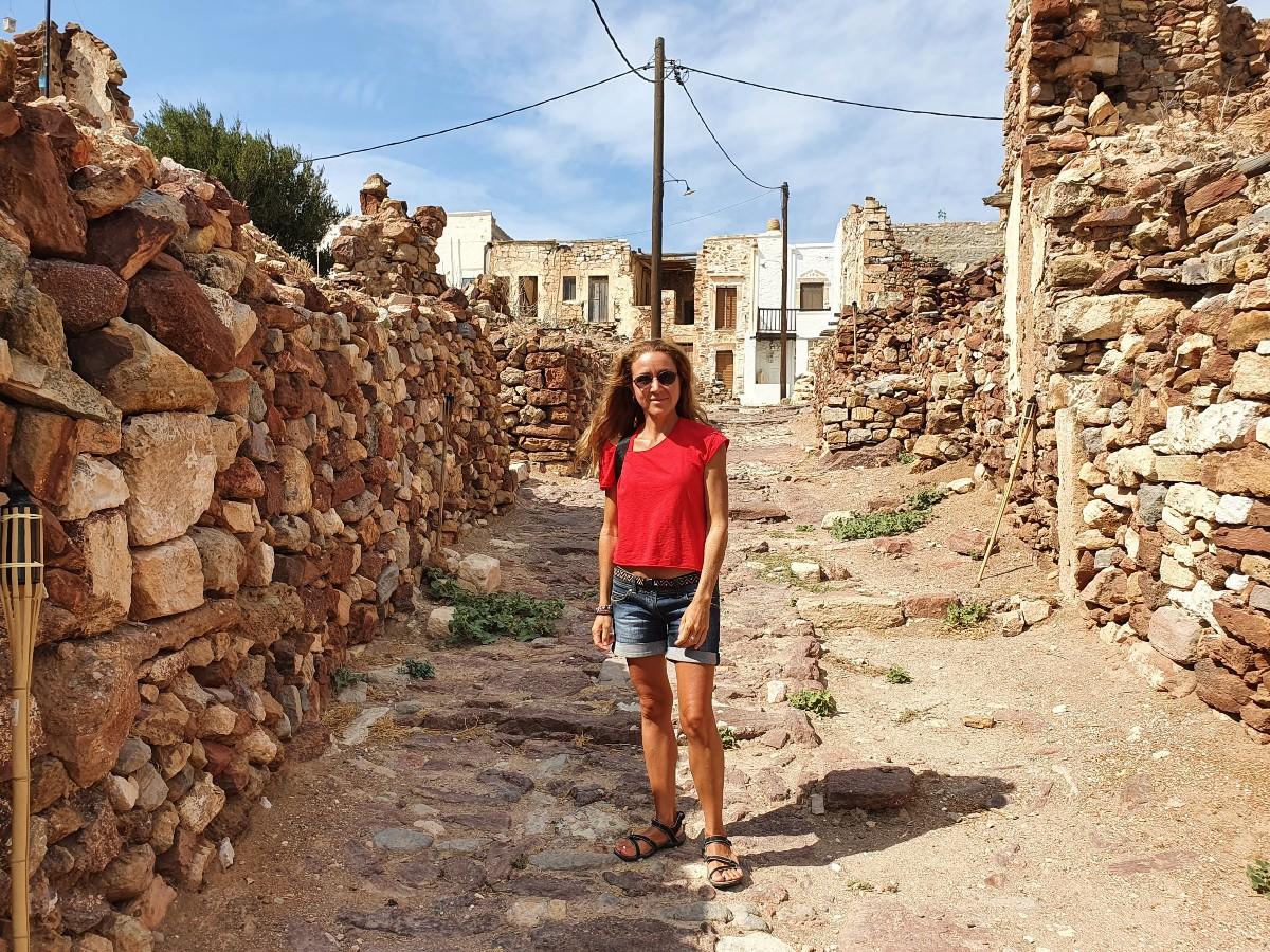 Vanessa from Real Greek Experiences inside the Venetian Castle in Kimolos Greece