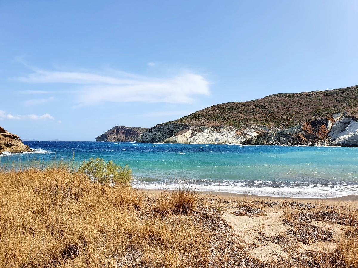 Beautiful beach in Kimolos Greece
