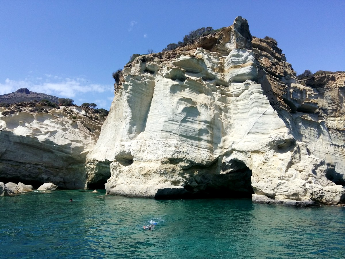 Seeing the impressive Kleftiko Bay in Milos at the end of our hike