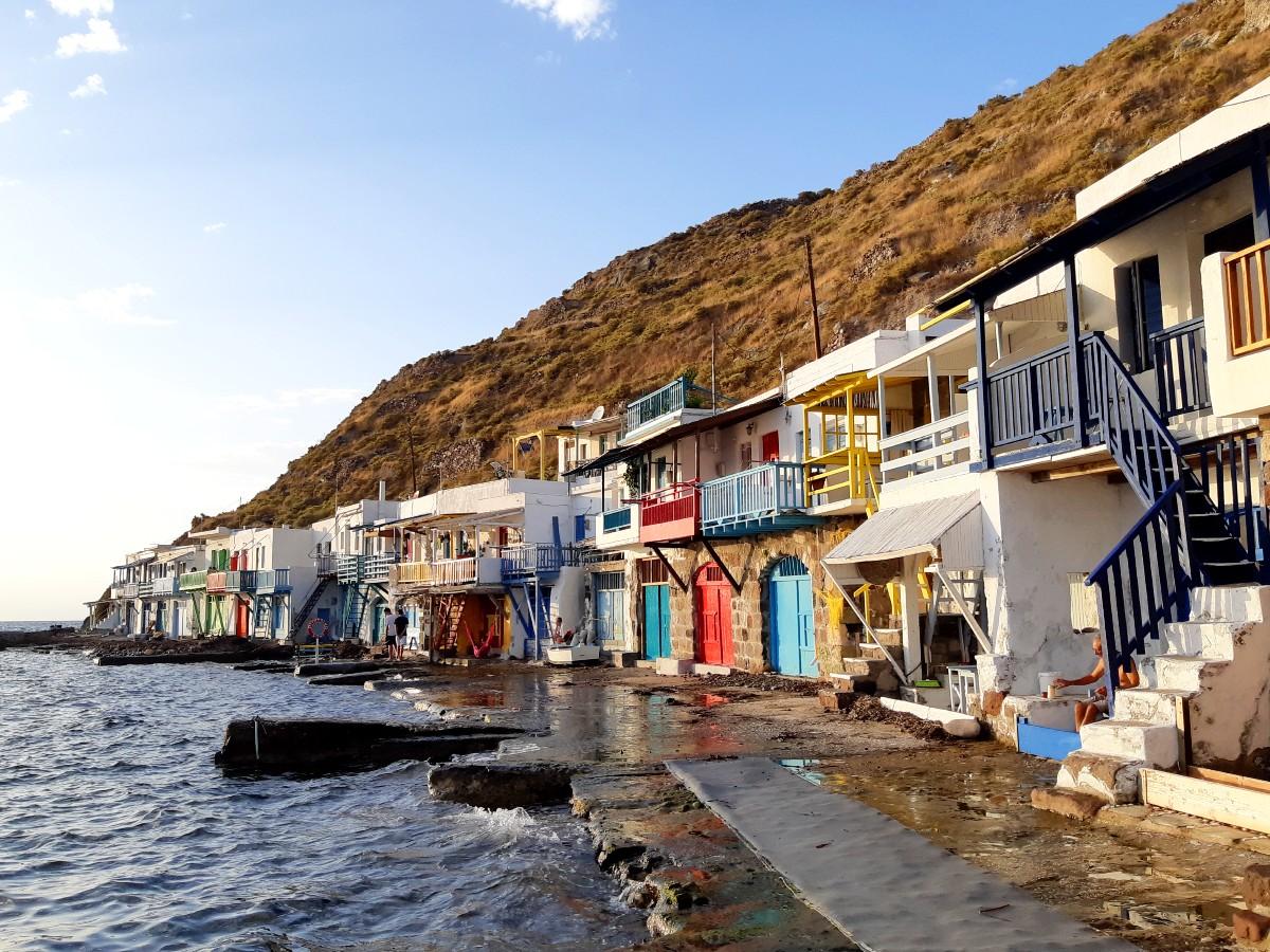 Colourful syrmata houses in Milos Greece