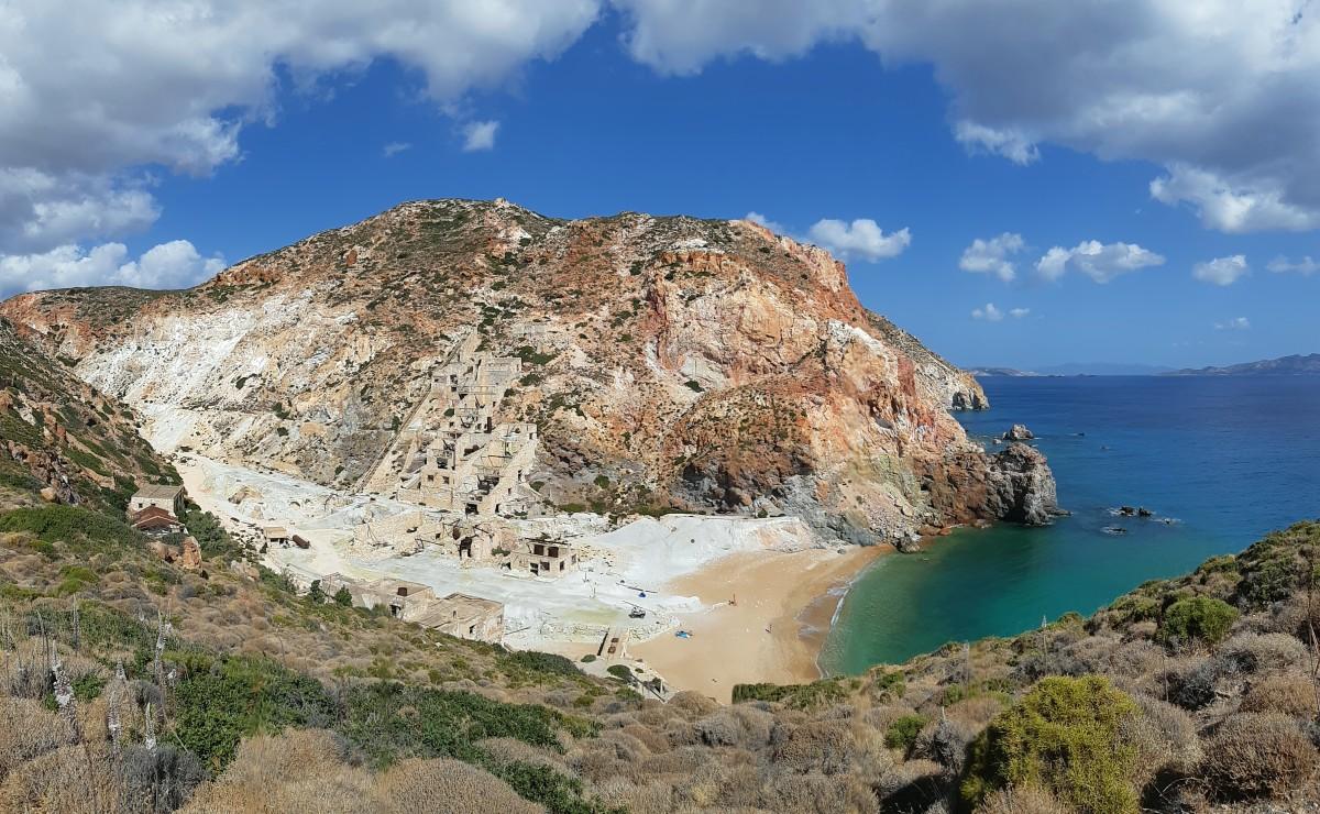 View of Thiorichia beach in Milos Greece