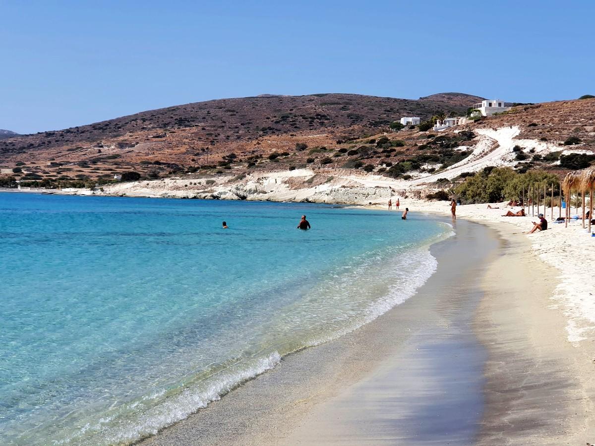 The beautiful Prassa beach in Kimolos