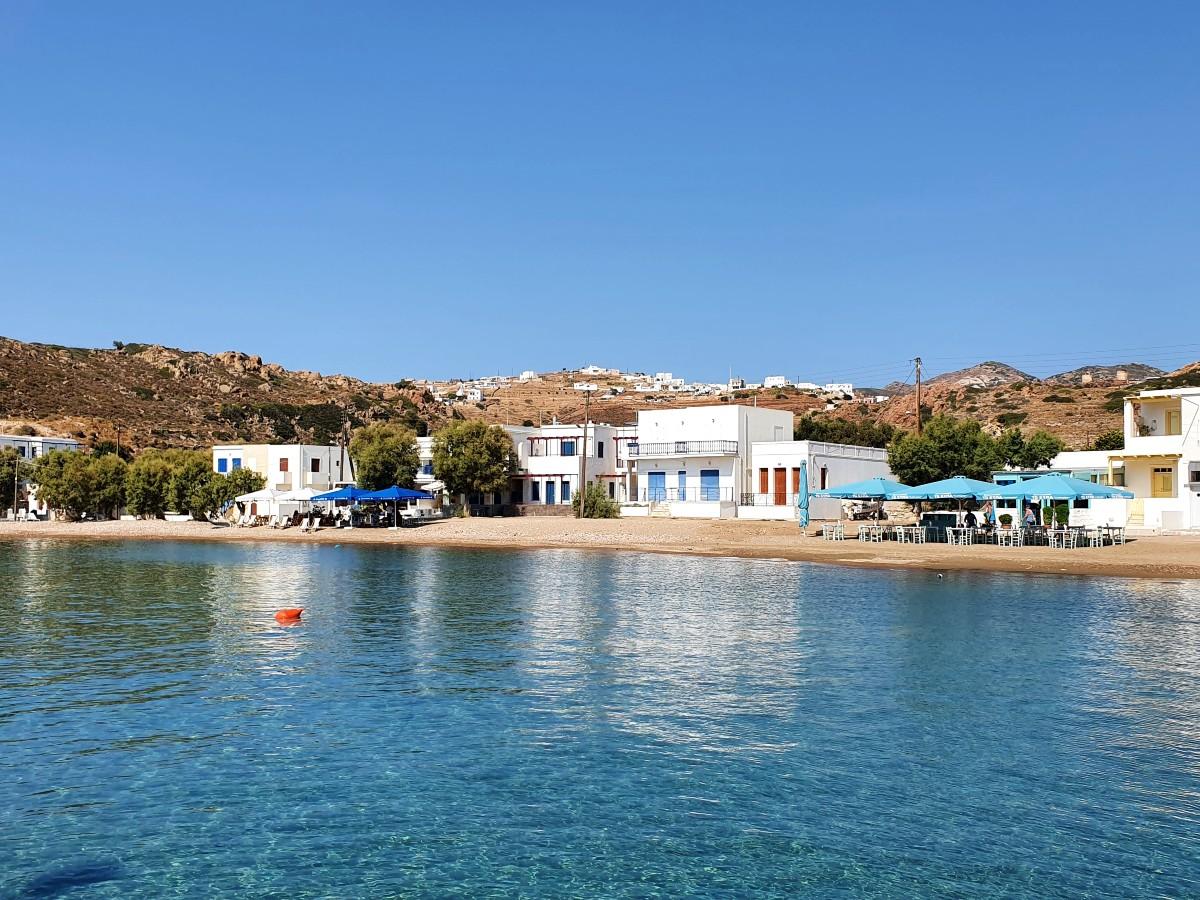 The pretty port beach in Kimolos Greece