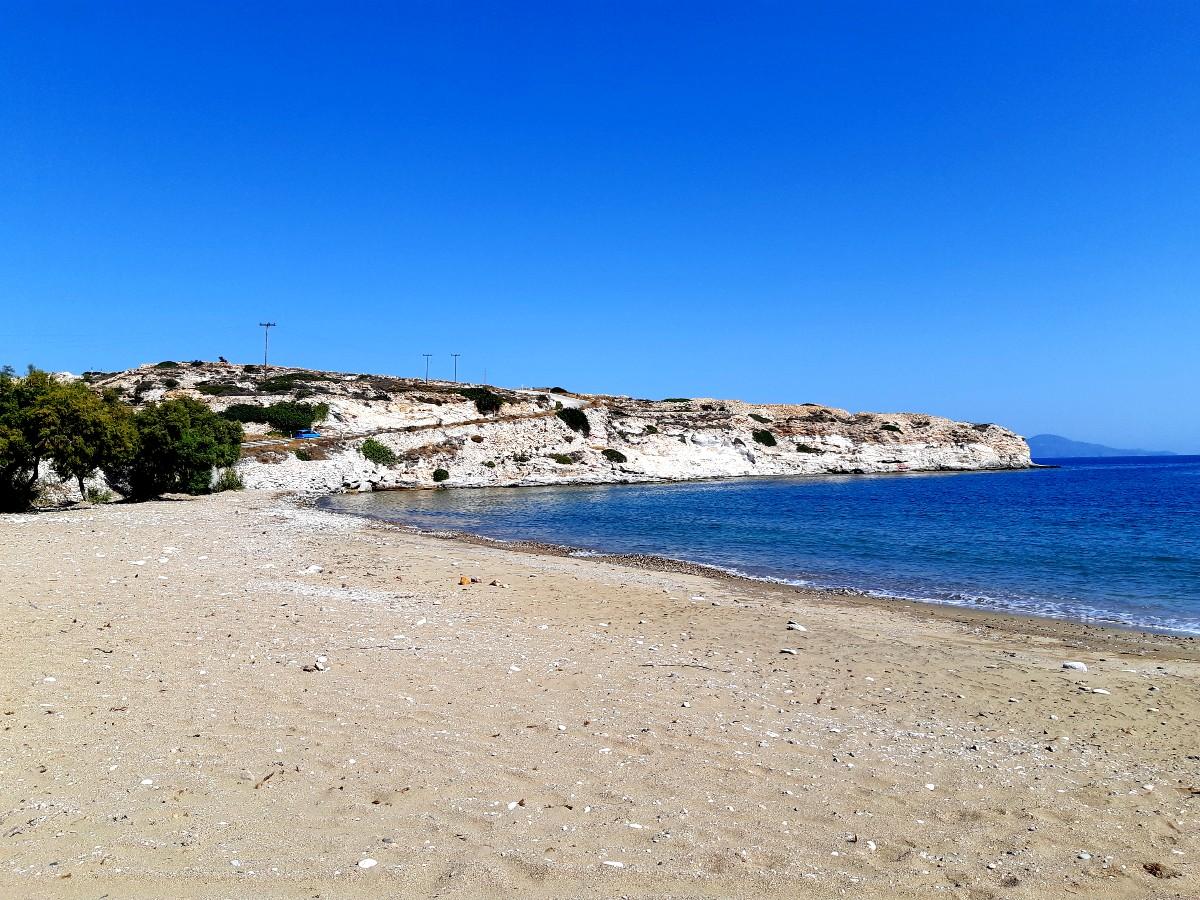 The sandy Klima beach in Kimolos Greece