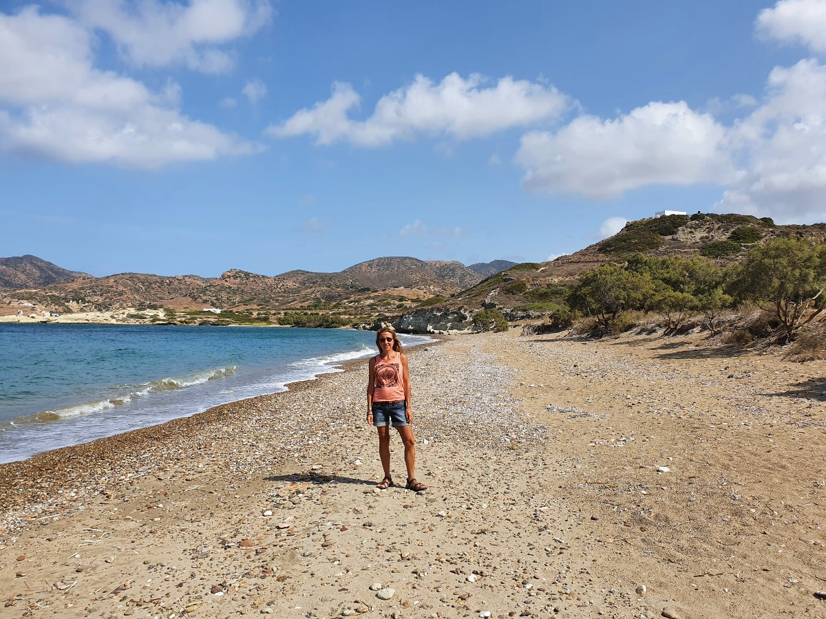Vanessa from Real Greek Experiences on a wild, unspoilt beach in Kimolos Greece