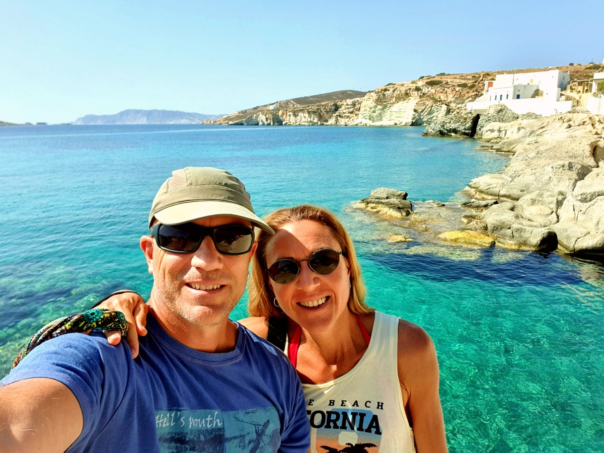 Vanessa and Dave from Real Greek Experiences near a fishing village in Kimolos Greece