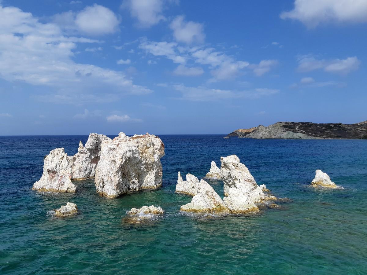 White volcanic rocks in Kimolos Greece