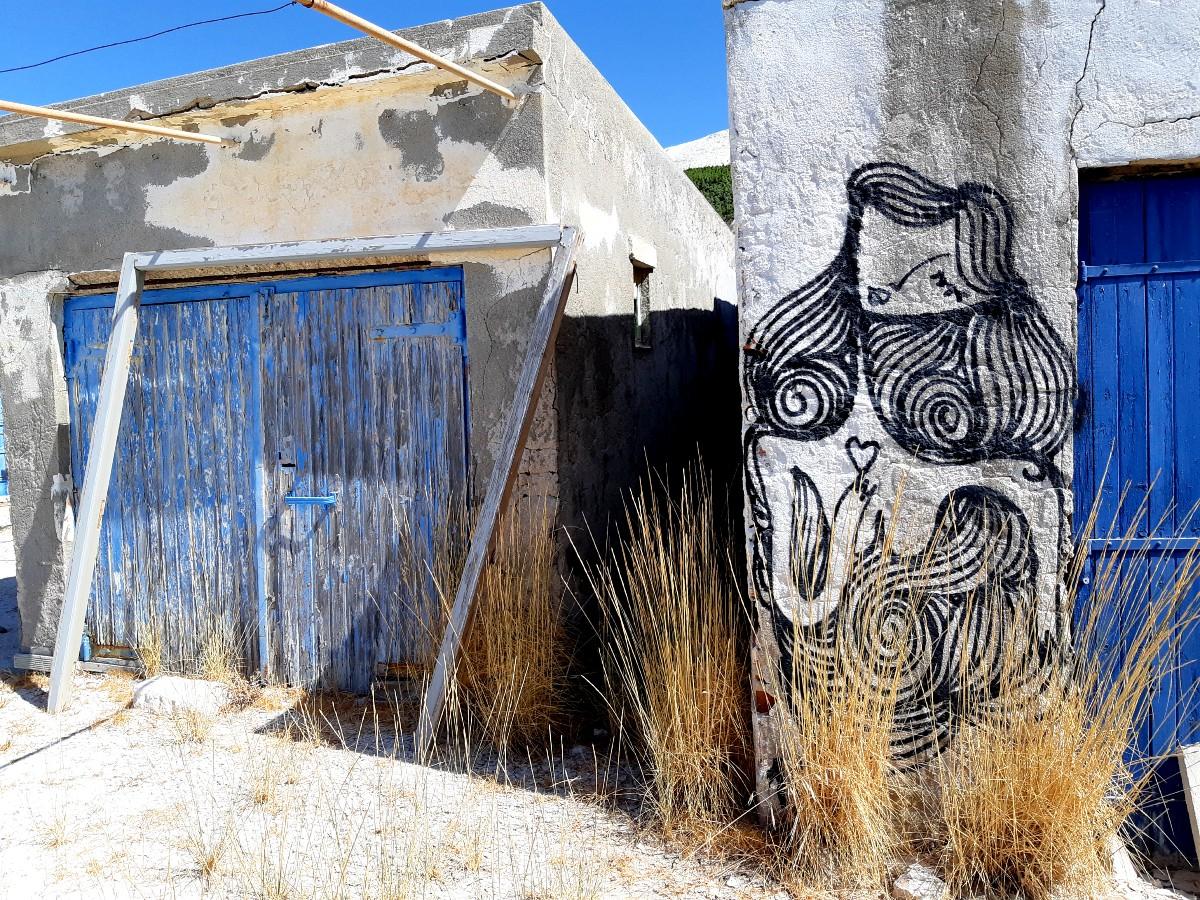 Unique street art in Kimolos Greece