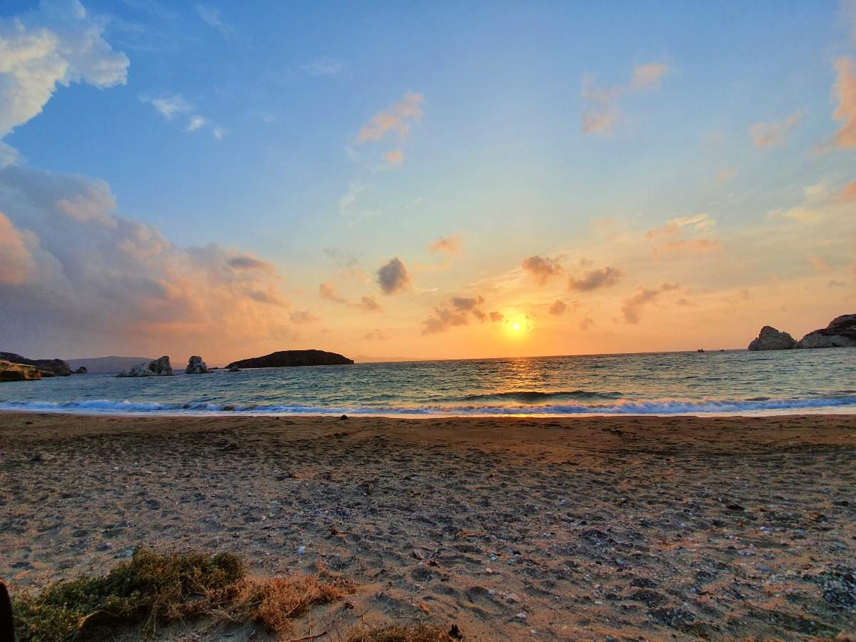 Sunset from Mavrospilia beach in Kimolos Greece
