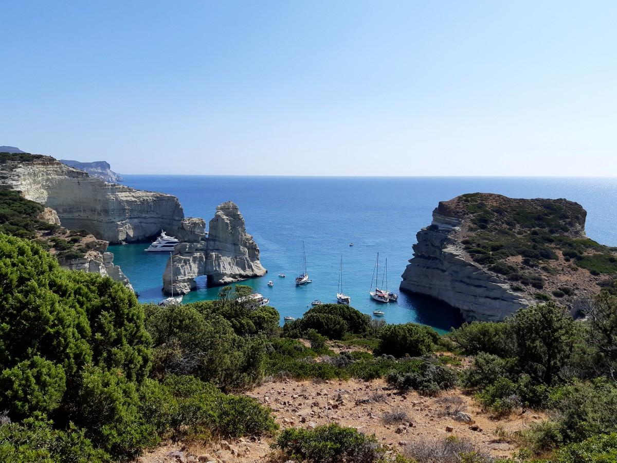 Boats in Kleftiko Bay Greece