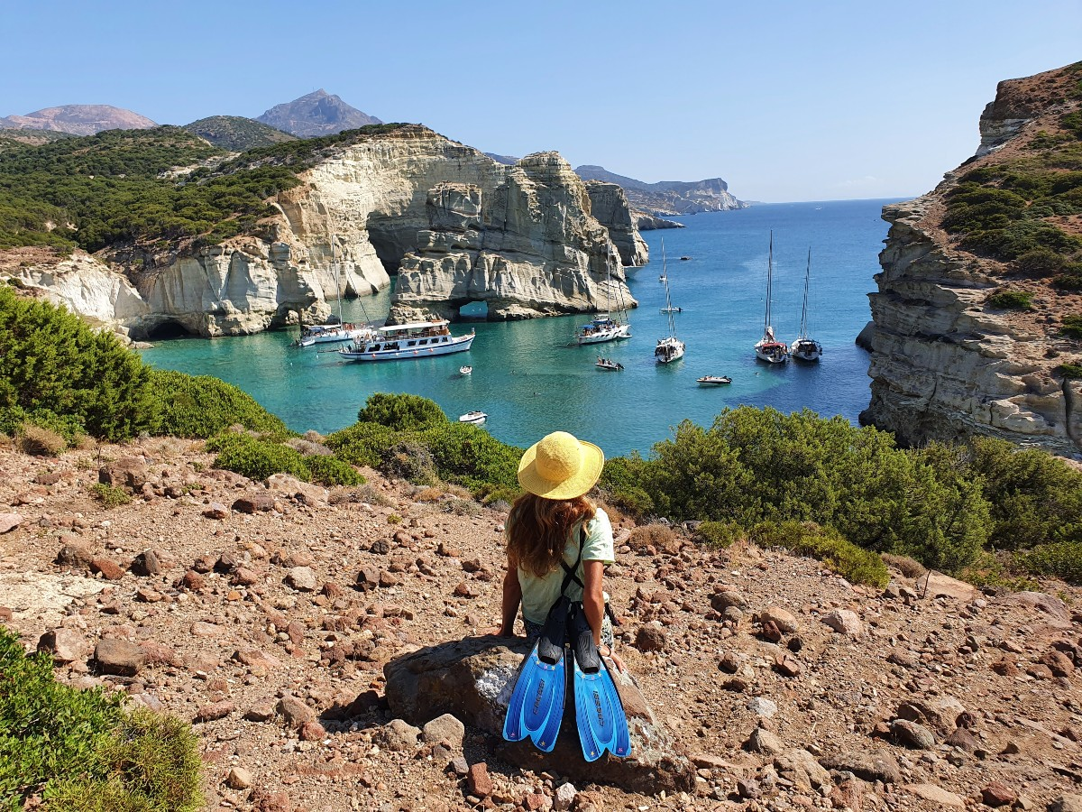 Hiking to Kleftiko beach in Milos Greece