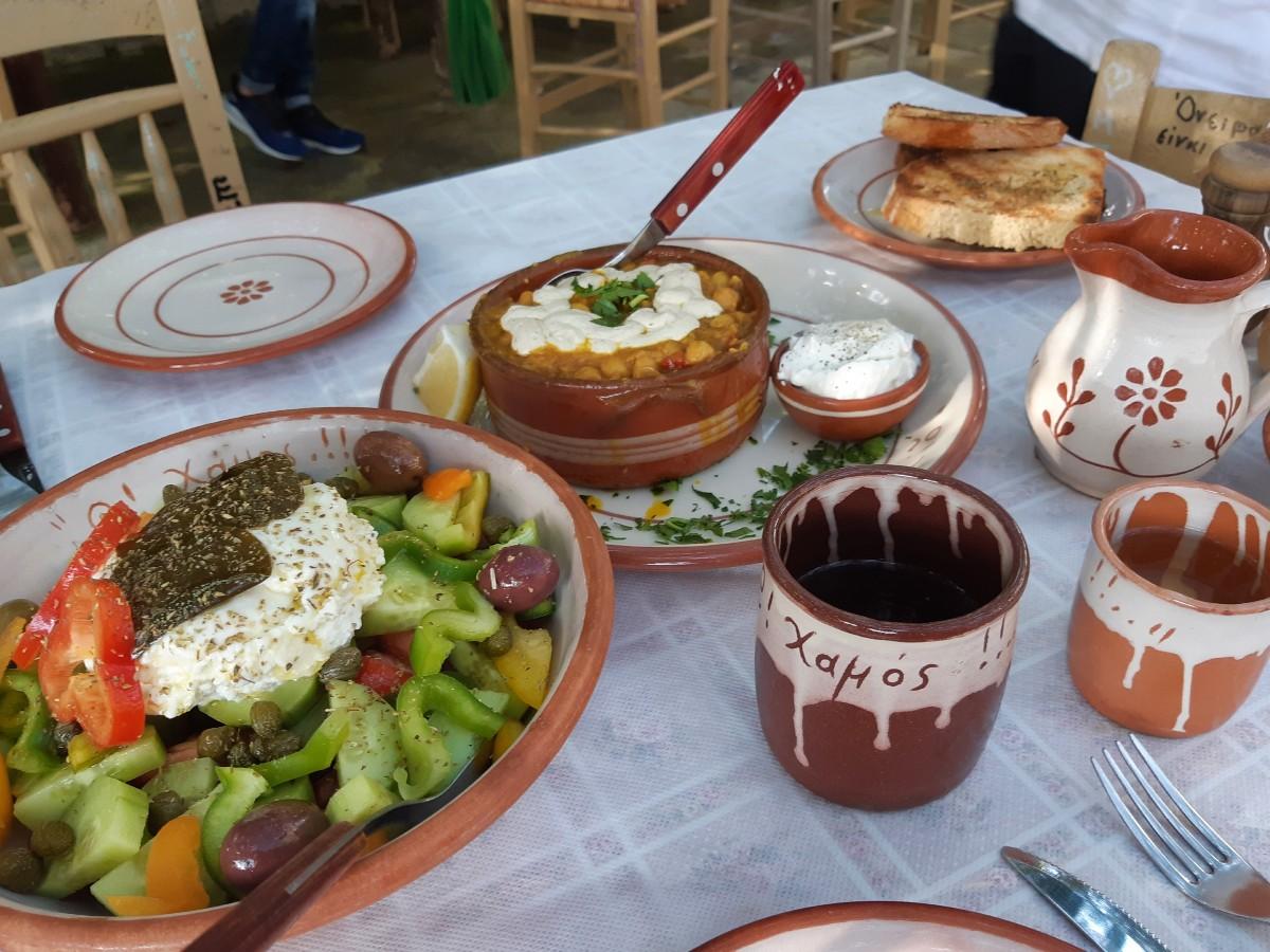 Greek food in Milos island