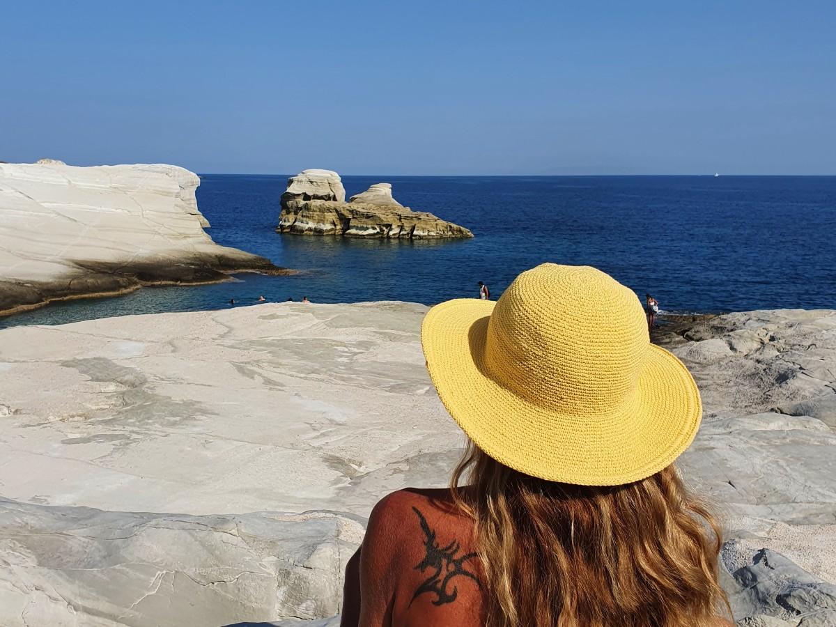 Vanessa on Sarakiniko beach Milos