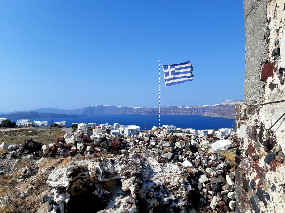 A Greek flag in Santorini