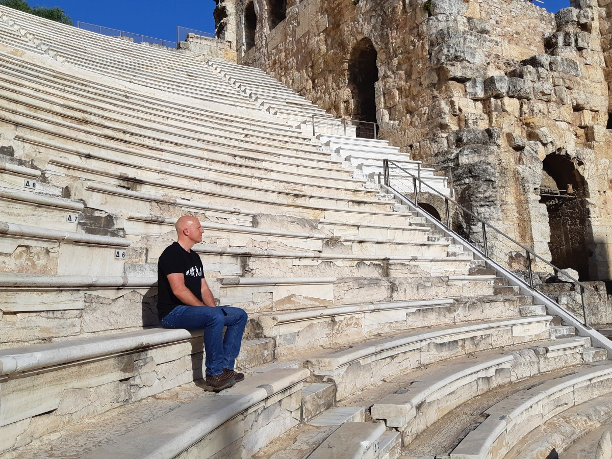 Sitting in an ancient Greek theatre