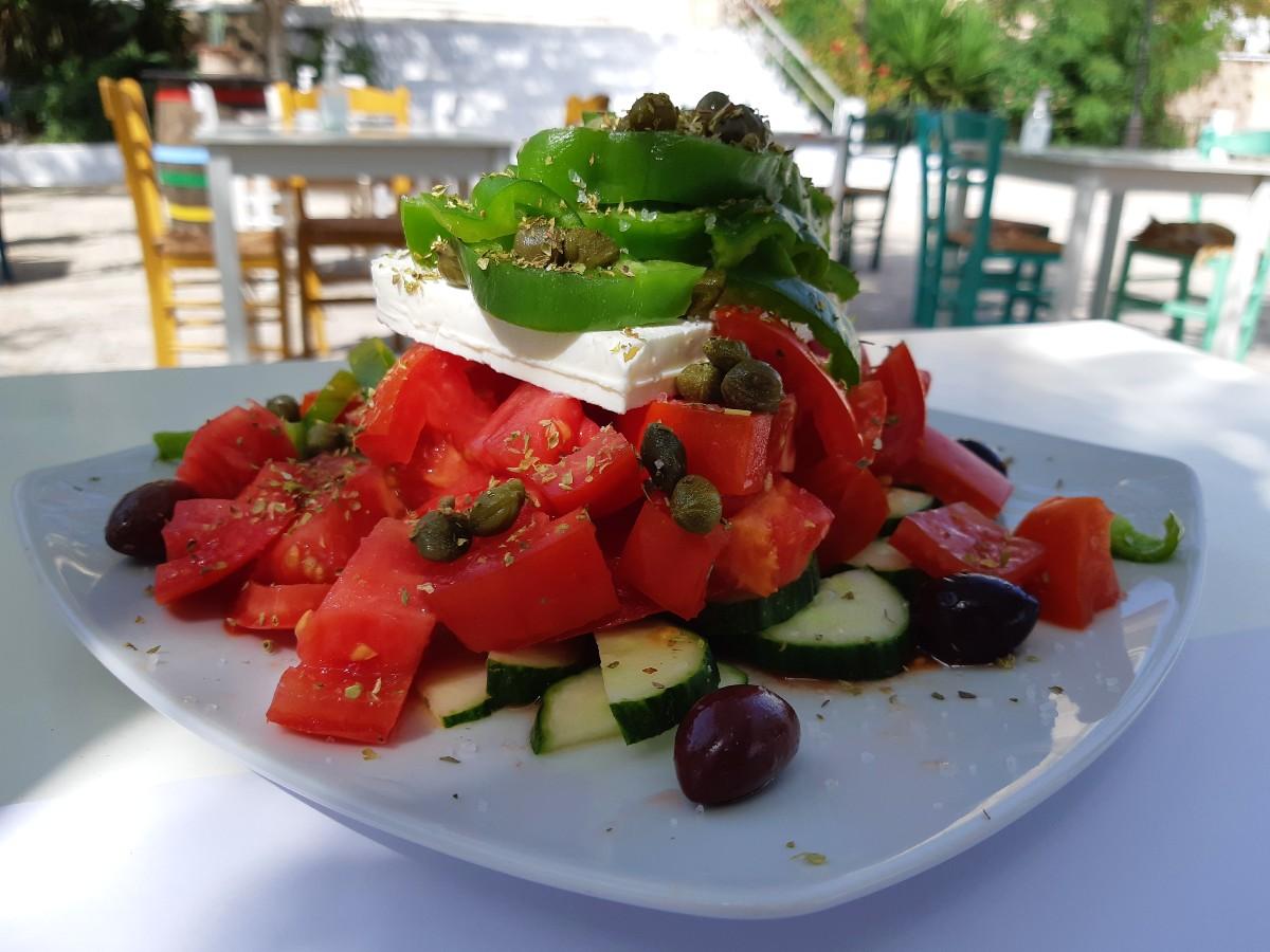 Greek salad in Milos Greece