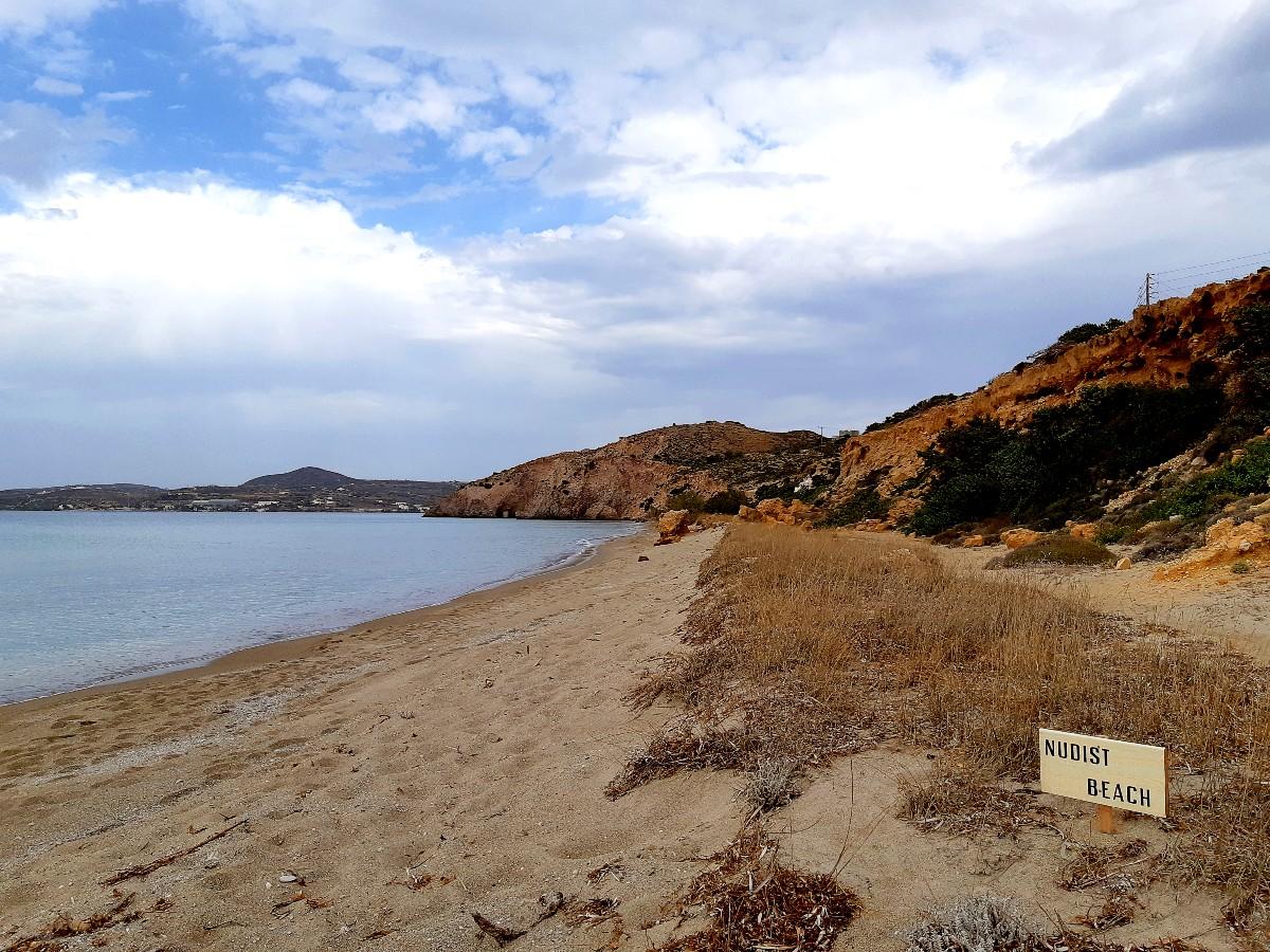 The quiet Achivadolimni beach in Milos Greece