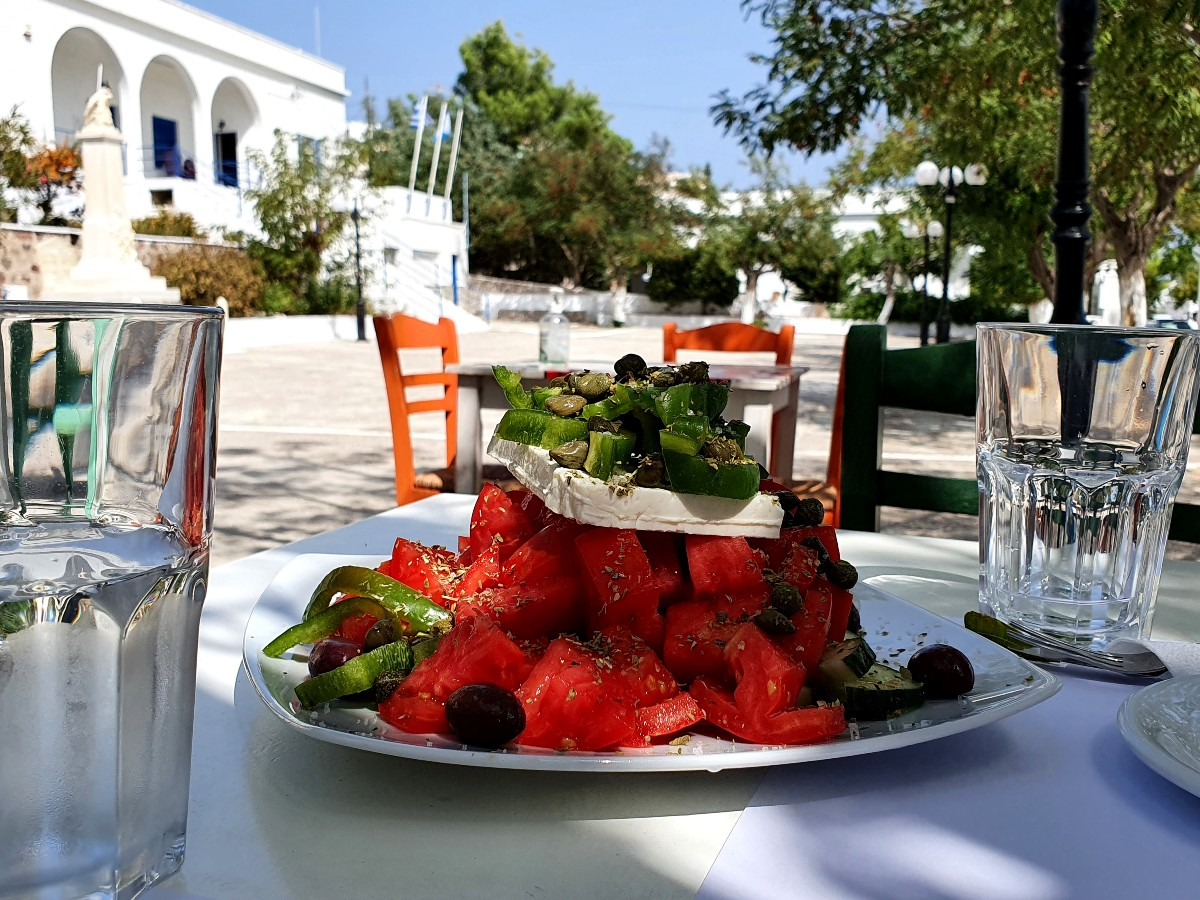 Massive Greek salad in Milos Greece