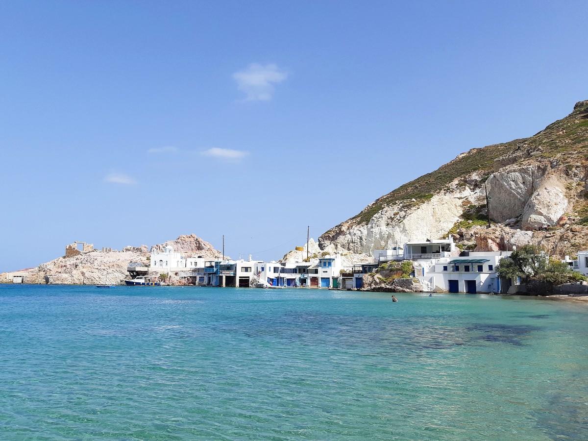 The beautiful beach of Firopotamos in Milos
