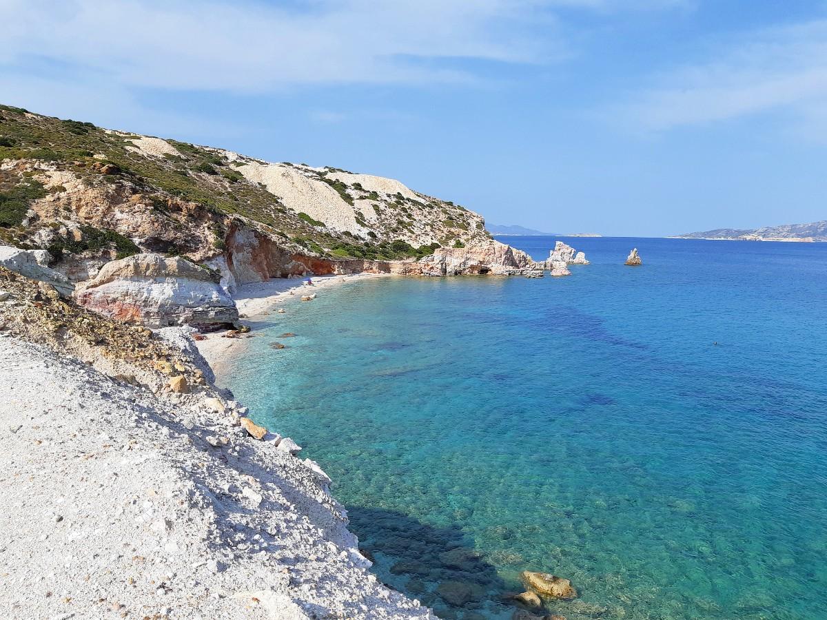 The remote Kastanas beach in Milos