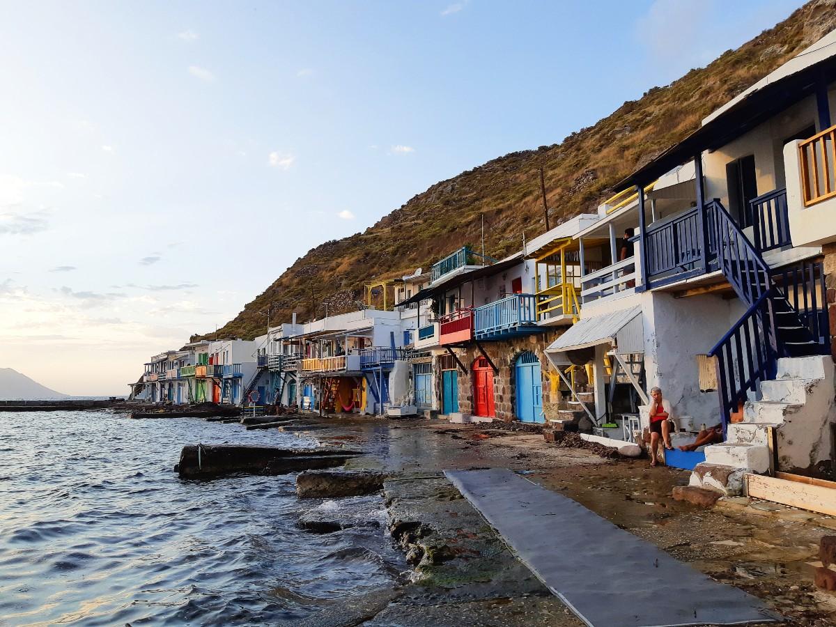 View of Klima village in Milos island Greece