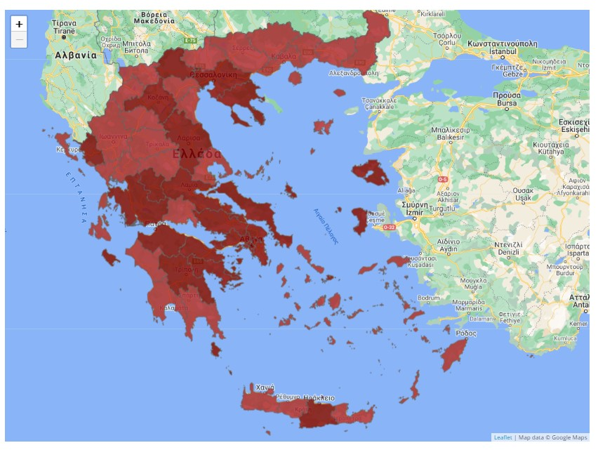 COVID map Greece