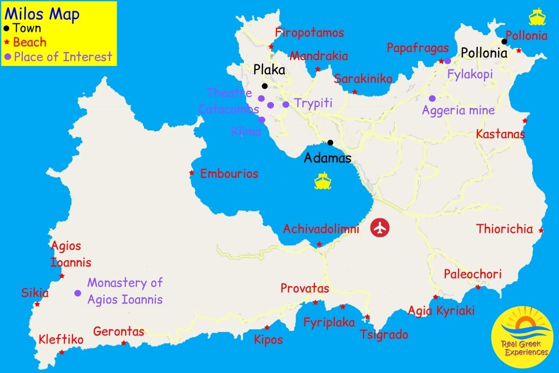 Milos Beaches Map - Real Greek Experiences