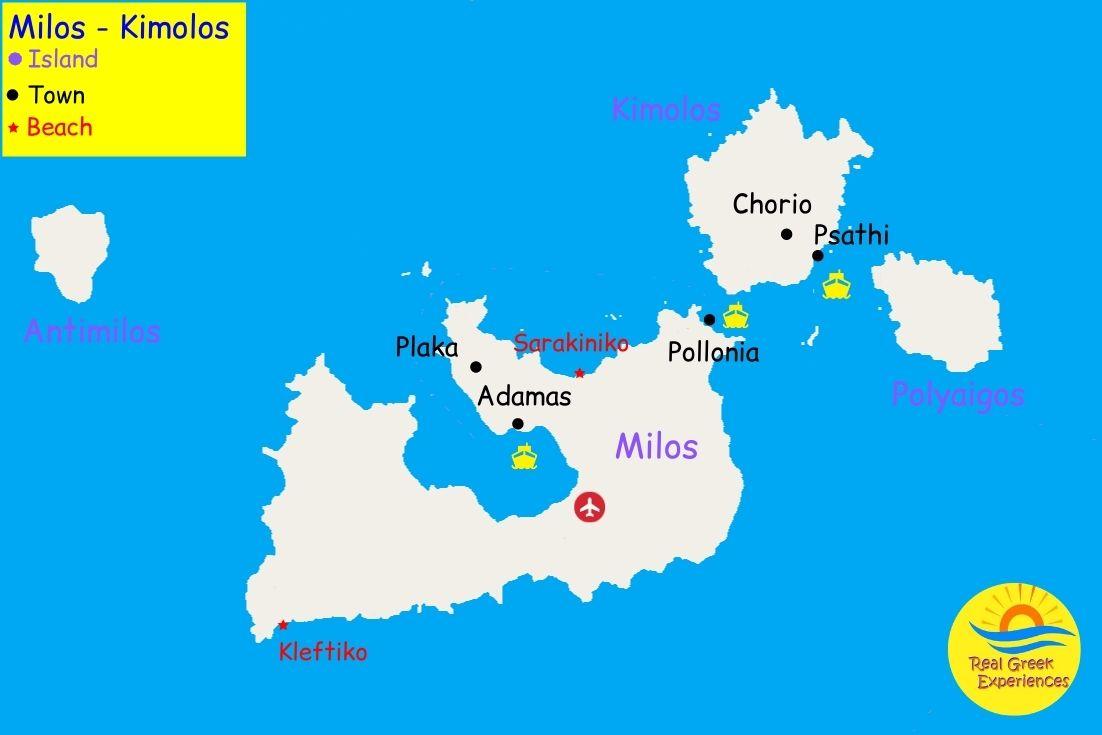 Map of Milos archipelago Greece